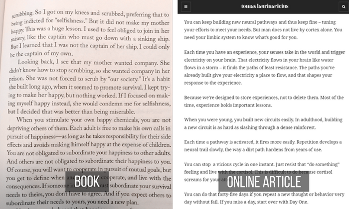Contrast Paragraphs in a book vs. online article.