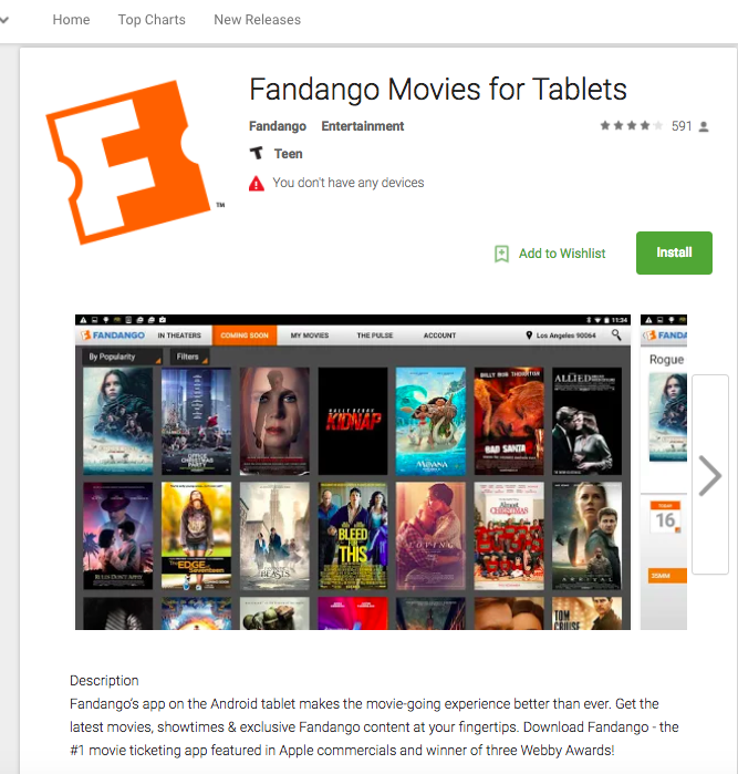 Fandango Shows Its 2017 Win for Ticketing App