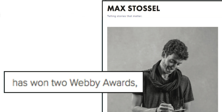 Max Stossel Displays His Two 2017 Webby Wins