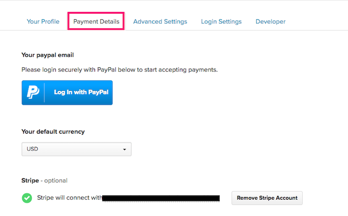 Go to Payhip Payment Details