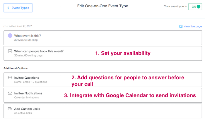Go to Calendly - Invite Questions