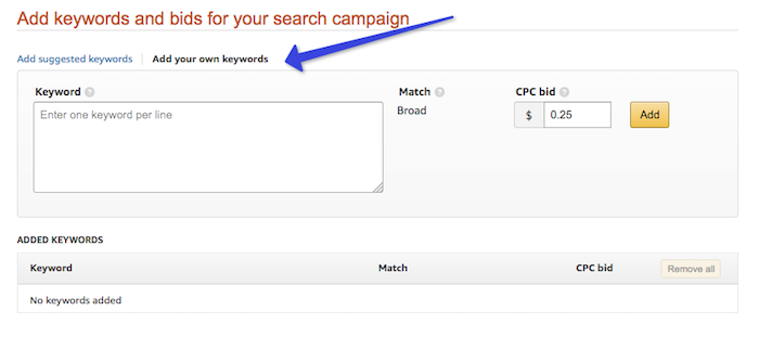 Add keyword bids for eBook search campaign