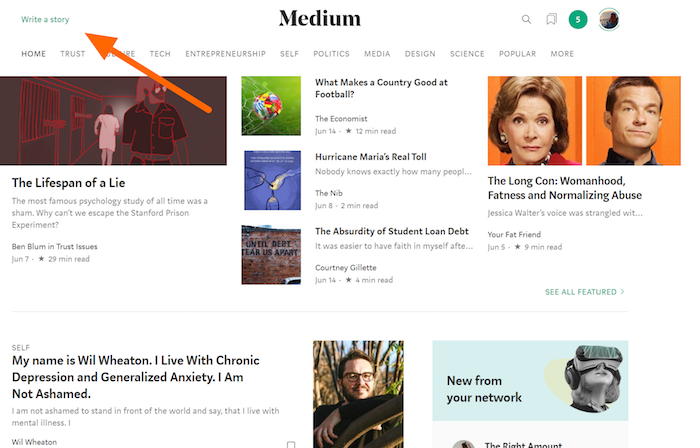 Free Blogging on Medium