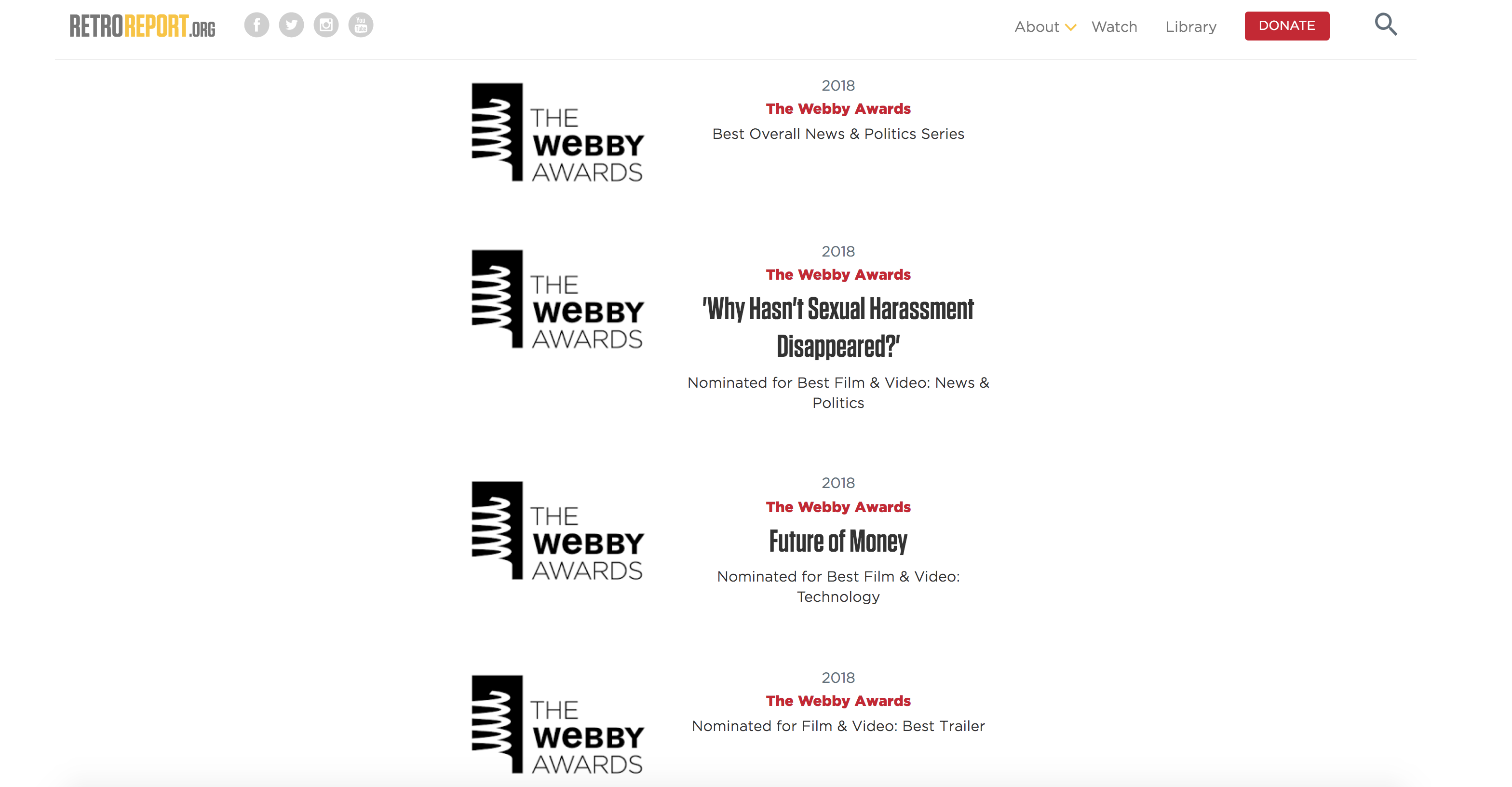 Retro Report Shows Its Multiple Webby Wins