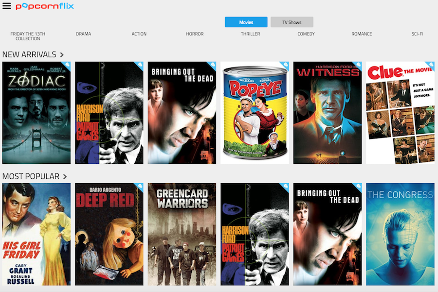 Popcornflix Screenshot for Free Streaming