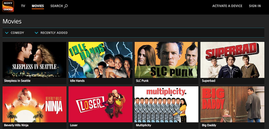 Sony Crackle Screenshot for Free Streaming