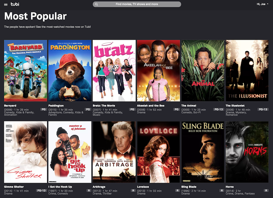 Tubi Screenshot for Free Streaming