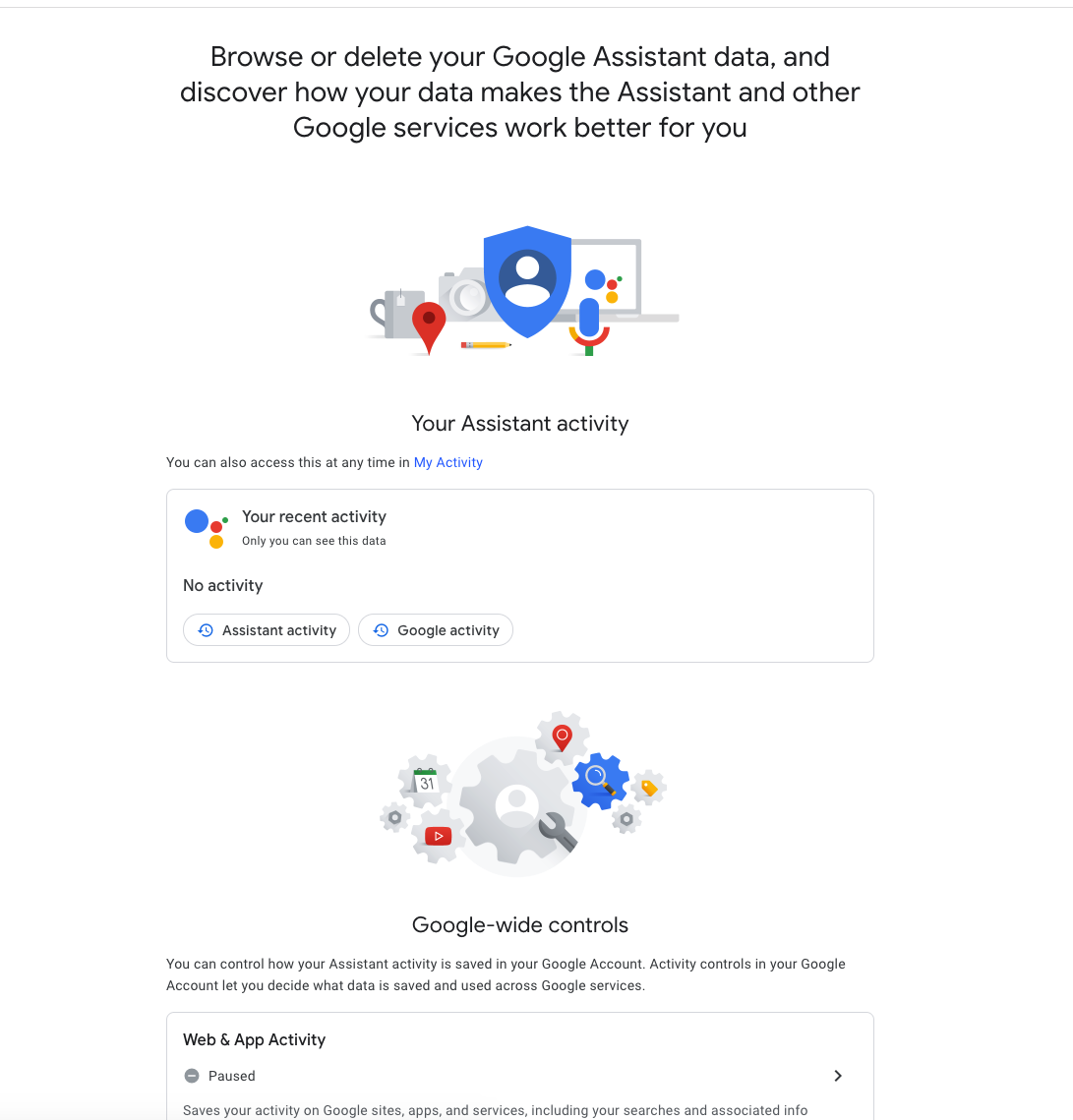 Google Assistant activity screen