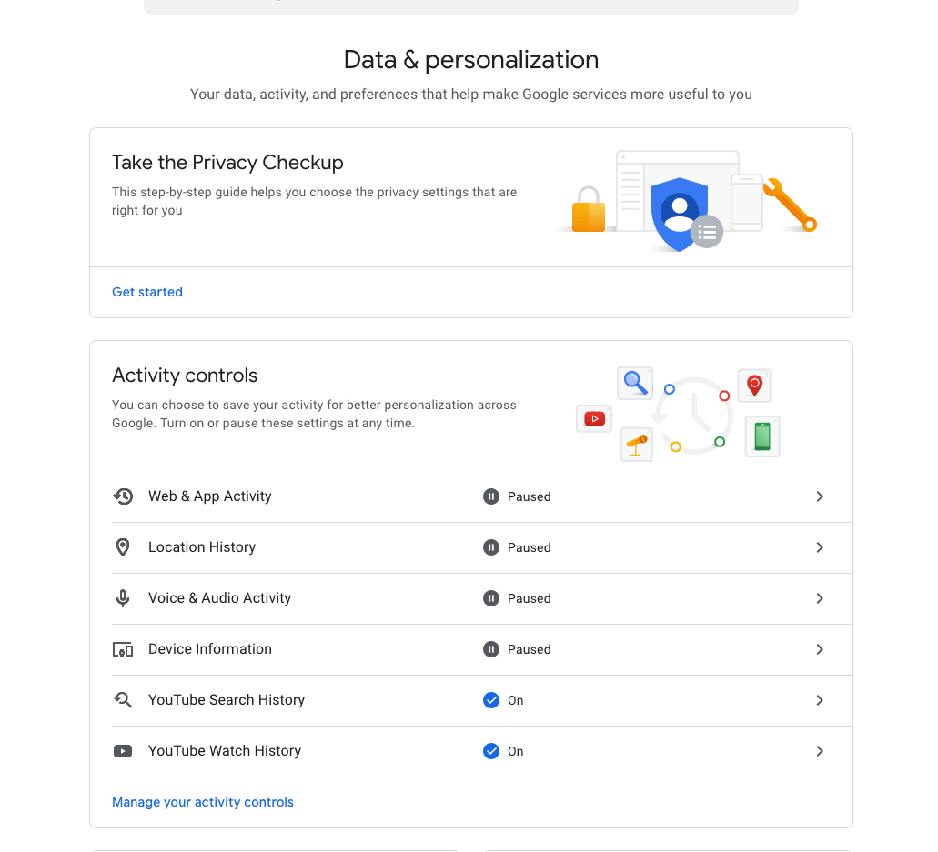Google's Data and Personalization settings