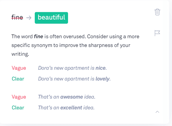 Grammarly Review: example of a suggestion