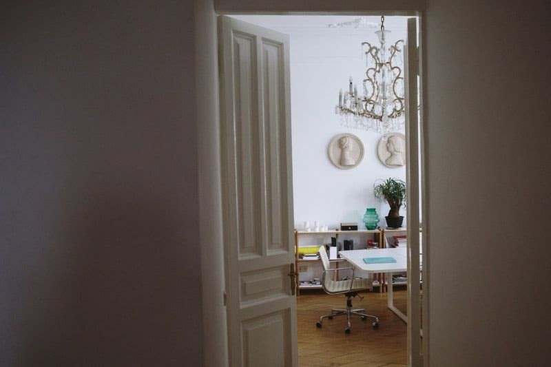 home office with door