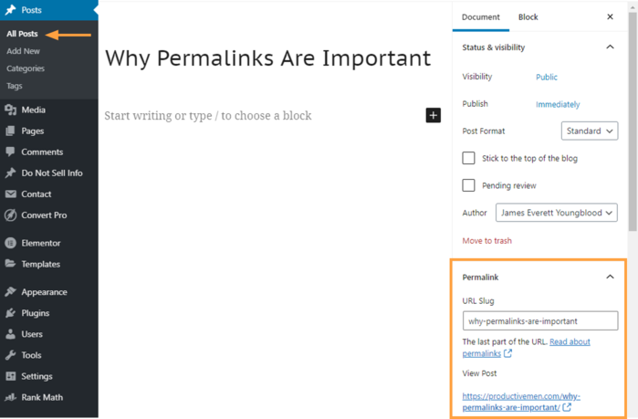 what is a permalink wordpress post url example