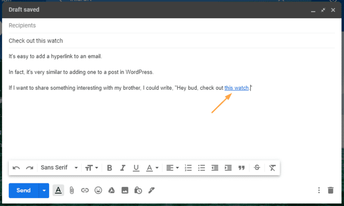 how to make a hyperlink linked gmail text